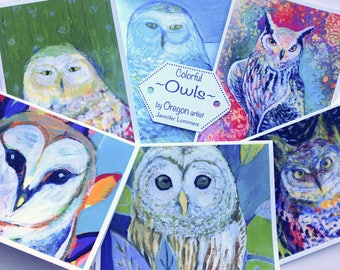 Colorful Owls - set of Blank Note Cards by Jenlo