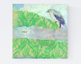 I Believe - ORIGINAL Mixed Media Sampler Bird Art #005 by JENLO