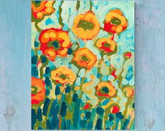 Vivid Modern Floral Poppy Abstract - Fine Art Print by Jenlo