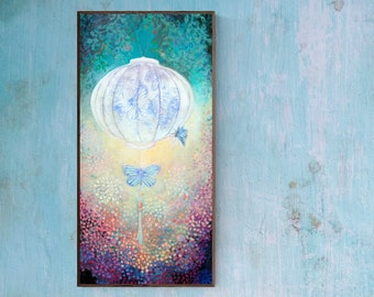 Searching for Truth ORIGINAL Lantern Painting on Cradled Birch Board by JENLO