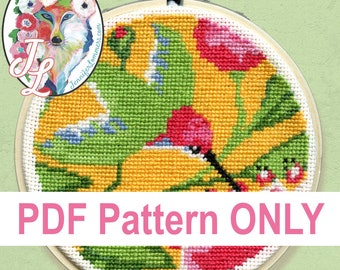 Hummingbird & Flowers - cross stitch PDF pattern