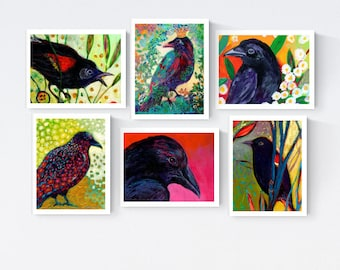 Black Birds - Blank Note Card Set by Jenlo