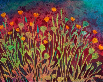 Poppy Tapestry - Modern floral abstract Print by Jenlo