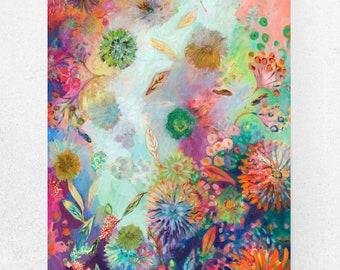 Contemporary Modern Sea Garden Floral Art - Fine Art Print by Jenlo