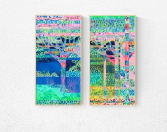 Tree Collage Abstract in Pink and Blue Diptych - Two (2) Fine Art Prints by Jenlo