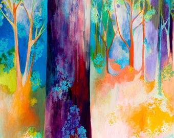 Fantasy Forest Contemporary Art - Fine Art Print by Jenlo