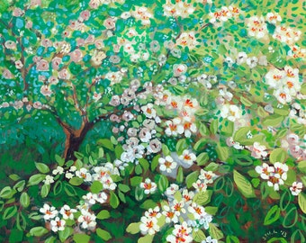 Cascading - Plein Air Fine Art Tree Print by Jenlo