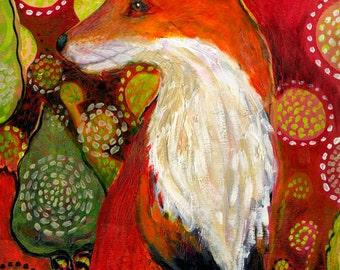 Wildlife Folk Art - Fox Listens - Fine Art Print by Jenlo