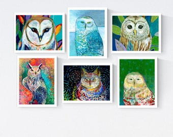 Colorful Owls - Blank Note Card Set by Jenlo