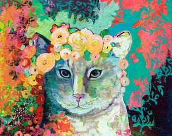 Modern Cat Art with Flowers- Fine Art Print by Jenlo