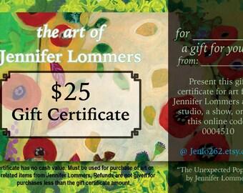 Digital Gift Certificate for the Art of Jennifer Lommers