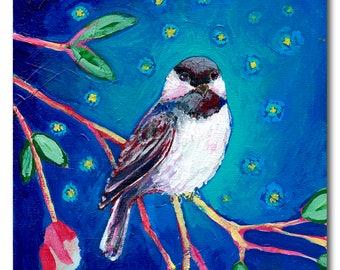 Chickadee at Night - Bird Fine Art Print by Jenlo