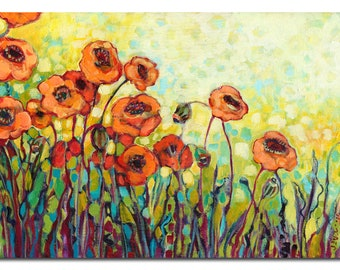 Orange and Yellow Poppy Floral -  Print by Jenlo