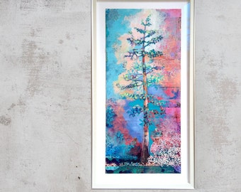 Redwood Tree ORIGINAL Collage Painting on 13x30 Yupo paper by JENLO