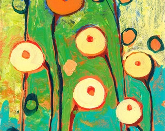 Green & Orange Abstract - Poppy Celebration -  Print by Jenlo