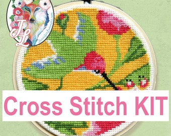 Hummingbird & Flowers - cross stitch kit