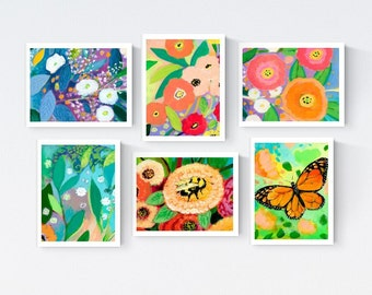 Flowers & Friends - Blank Note Card Set by Jenlo