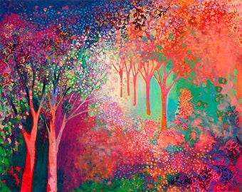 Modern Vibrant Tree Landscape - Art Print by Jenlo