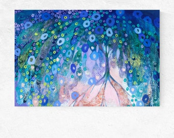Embraced - modern ORIGINAL peacock abstract tree Painting, 24x36 by JENLO
