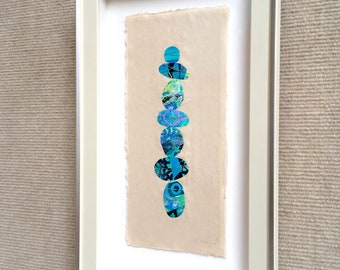 Zen Stacked Rocks ORIGINAL FRAMED Collage on Yupo paper 7x12 by JENLO