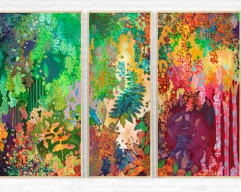 Forest Abstract Triptych - Three (3) Fine Art Prints by Jenlo