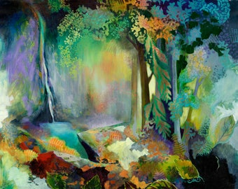 Waterfall Forest Abstract - Cascadia State Park - Fine Art Print by Jenlo