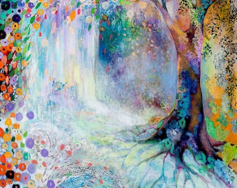 Searching for Forgotten Paths (C) - Huge ORIGINAL Tree Abstract Waterfall Painting by JENLO