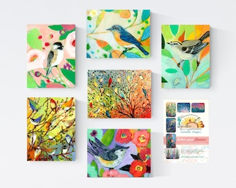 Colorful Birds Set A - Blank Note Cards by Jenlo