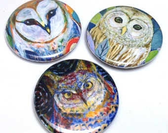 Owls - Magnet or Pin Set of 3 - by Jenlo