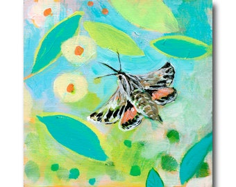 ORIGINAL NeverEnding Story Final Chapter #48 (Sphinx Moth) - Painting on 6x6 Wood by JENLO