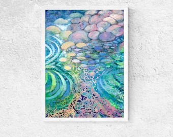 Pebbles in Water Abstract -  Print by Jenlo