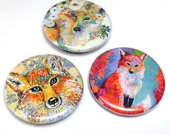 Fox - Magnet or Pin Set of 3 - by Jenlo