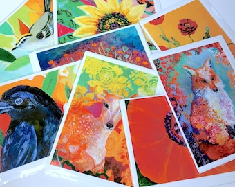 SALE - Lot 7 - Mixed Set of 8 Blank Note Cards by Jenlo