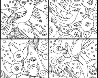 Bird Set of 4 Coloring Pages by Jenlo