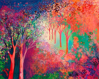 Vivid Modern Forest Abstract - Fine Art Print by Jenlo