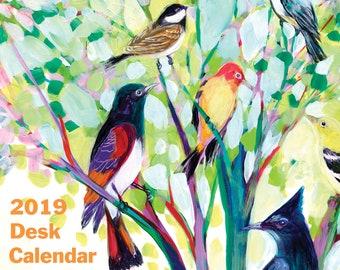 Colorful Birds 2019 4.25 x 5.5 Desk Calendar of Art by Jenlo