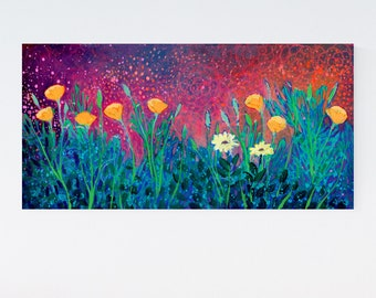 Poppies at Twilight ORIGINAL Painting on Cradled Birch Board by JENLO
