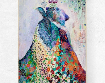 Huge ORIGINAL Bear & Peacock Abstract Painting by JENLO