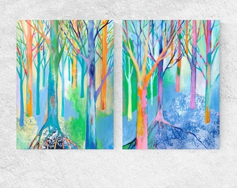 Vivid Modern Forest Tree Abstract - Fine Art Prints by Jenlo