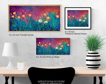 Poppies at Twilight - floral garden Fine Art Print by Jenlo