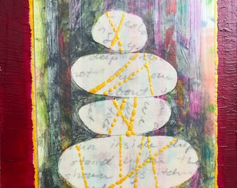Abstract Zen ORIGINAL Collage Painting on Cradled Birch Board by JENLO