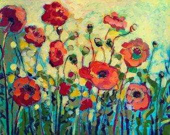 Vivid Modern Floral Poppy Landscape - Fine Art Print by Jenlo