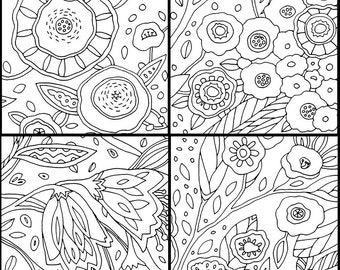 Flower Set of 4 Coloring Pages by Jenlo
