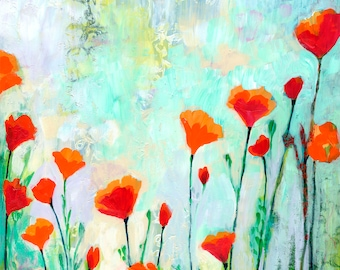 Red Poppy Floral - One Sunny Morning -  Print by Jenlo