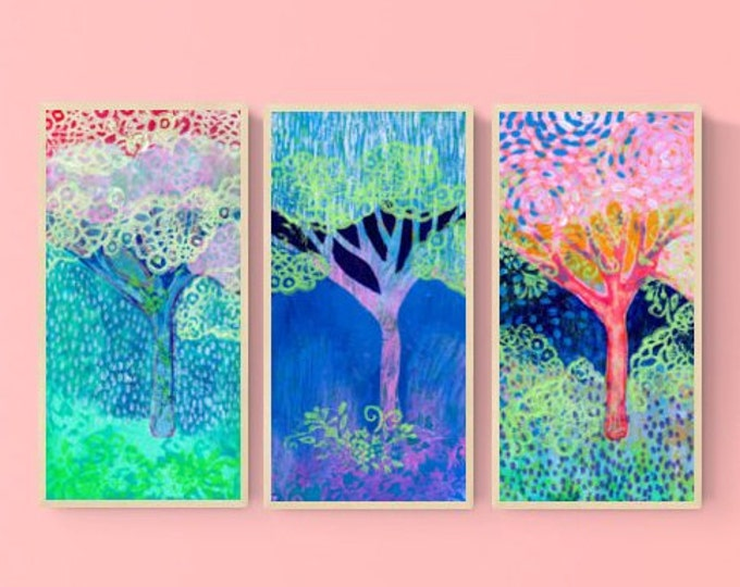 Featured listing image: Tree Abstract in Pink and Blue Triptych - Three (3) Fine Art Prints by Jenlo