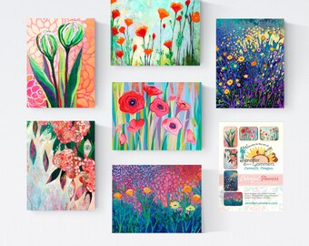 Colorful Flowers - Blank Note Cards by Jenlo