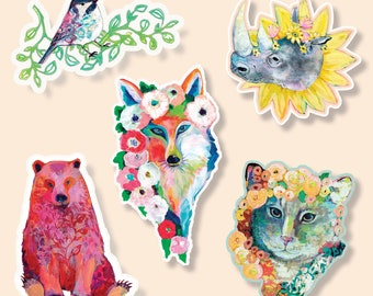 Vinyl Sticker Animal Set of 5 by Jenlo