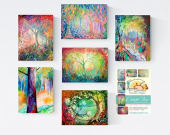 Colorful Trees set B - Blank Note Cards by Jenlo