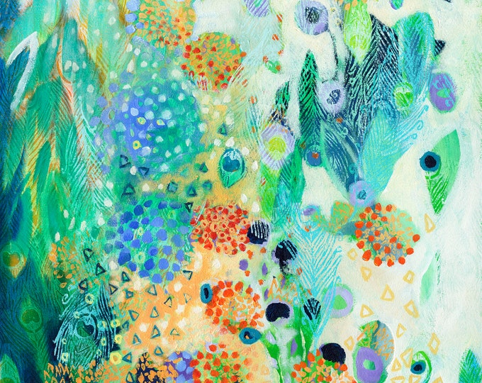 Featured listing image: Modern ORIGINAL floral abstract garden Painting, 24x36 by JENLO