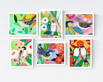 More Colorful Birds - Blank Note Card Set by Jenlo